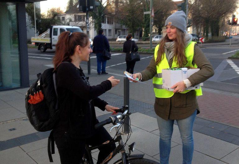 Aktion der Stadt Gießen für Radfahrer